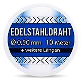 Edelstahldraht V2A - Ø 0,50 mm 10 Meter (0,40 EUR/m) Edelstahl Draht Heizdraht Schneidedraht Wickeldraht S304 AWG24 0,5