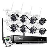 ZOSI Kit de Cámaras de Vigilancia WiFi 1080P Sistema de Seguridad Inalámbrico 8CH HD Grabador NVR + (8) 2,0MP Cámara IP Exterior + 2TB Disco Duro, Visión Nocturna, Acceso Remoto en Móvil