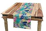 ABAKUHAUS Tropical Chemin de Table, Exotique Hawaï Flora Été, Décoratif Lavable en Machine et Facile à Nettoyer, 40 x 180 cm, Multicolore
