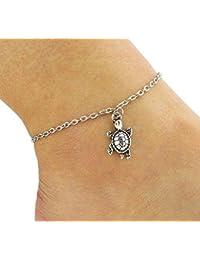 Hoveey Pulsera tobillera de plata para mujer, joyería de pie descalzo, cadena de tobillera de playa, adorables colgantes de tortuga para decoración de boda