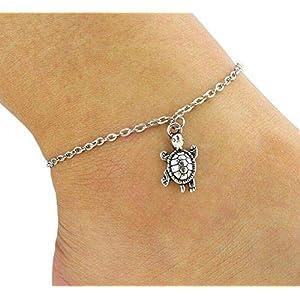 Hoveey Silber-Fußkettchen für Damen, Fußschmuck, Barfuß, Strand, Fußkettchen, süße Schildkröten-Anhänger, Hochzeitsdekoration