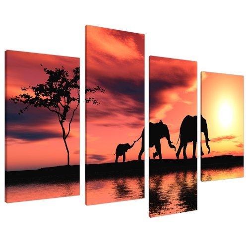 Wallfillers Cuadros en Lienzo Grande Puesta de Sol África Elefantes Imágenes XL...
