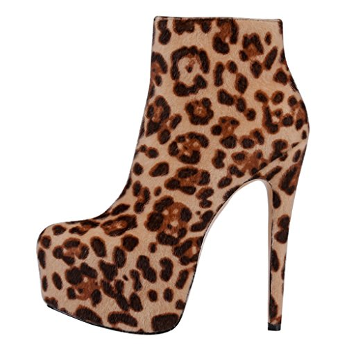 EKS Frauen Frühling Winter Ankle Seite Reißverschluss Nieten Dekoration Himmel High Heel Stiefel Leopard-Wildleder