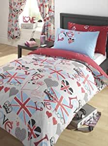 punk rocker love union jack parure de lit r versible pour. Black Bedroom Furniture Sets. Home Design Ideas