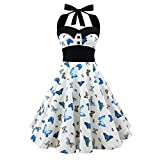 1950s Vintage Rockabilly Kleid Elegant Neckholder Kleid A-Linie mit Schädel Druck Swing Weinlese Kleid Partykleider Festliches Kleid in Mehreren Farben