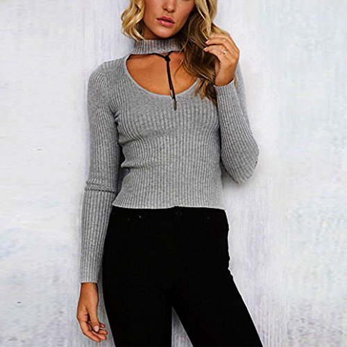 Ouneed® Women Knit Casual Long Sleeve Pullover Outwear Tops Sweater Gris