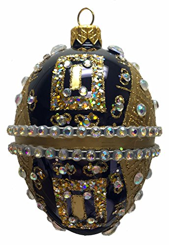 Black and Gold Jeweled Egg Polish Glass Christmas Tree Ornament Made in Poland -