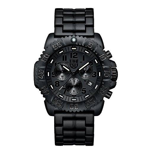 Luminox Navy SEAL Colormark Chronograph Men's Quartz watch with Black dial featuring LLT Luminox light Technology 44 millimeters Carbon Compound case and Black PU Strap  XS.3082.BO