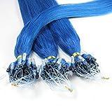 hair2heart 25 x Microring Loop Extensions aus Echthaar, 40cm, 1g Strähnen, glatt - blau