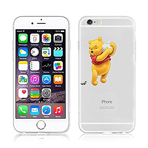 NEW Disney Princesses Transparent Coque souple en TPU pour Apple iPhone 5, 5S, 5C, 6 &6S (iphone 7, Winnie with Apple)