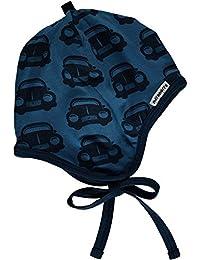 MAXOMORRA Jungen Mütze Blau Bändchen Auto BioBaumwolle Gots