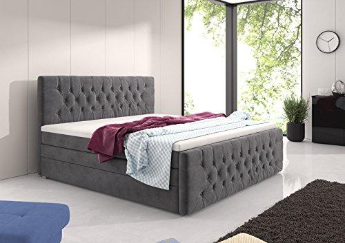 wohnenluxus Boxspringbett 180×200 cm mit Luxus 7-Zonen Taschenfederkernmatratze und Bonnelfederkernunterbau Bettkasten Visco-Topper Samtstoff Doppelbett