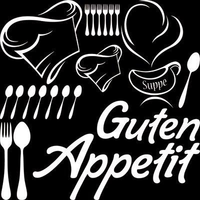 Preisvergleich Produktbild Wandtattoo Set Küche Spruch Schriftzug Guten Appetit mit Kochmütze (57x57cm//010 weiss)