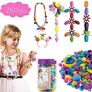 ANPHSIN 260 PCS Pop Perlen, Snap Perlen Pop Beads, Drahtlose Perlen Geschenkset, DIY Schmuck Kit Zum Basteln Kunst Handwerk wie Halskette Armband Ringe Fußkette usw. für Kinder
