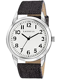Laurels White Color Analog Men's Watch With Strap: LWM-DNM-010207
