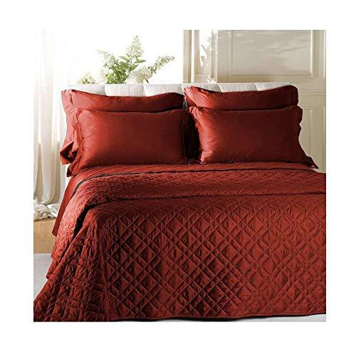 Caleffi prestigioso ed elegante trapuntino copriletto trapuntato in raso di cotone letto matrimoniale vari colori (bordeaux)