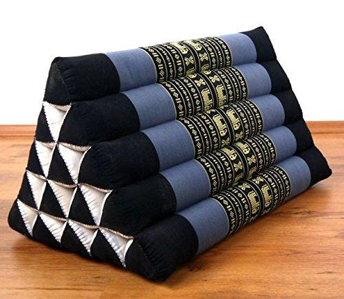 Asia Wohnstudio Großes Dreieckskissen als Rückenstützkissen, Thaikissen bzw. Keilkissen, Nackenkissen für das Bett (blau/Elefanten)