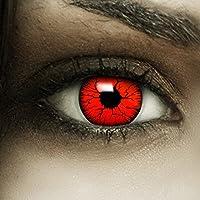 Farbige Kontaktlinsen  Devil  + Kunstblut Kapseln + Behälter von FXContacts in rot, weich, ohne Stärke als 2er Pack - angenehm zu tragen und perfekt zu Halloween, Karneval, Fasching oder Fasnacht