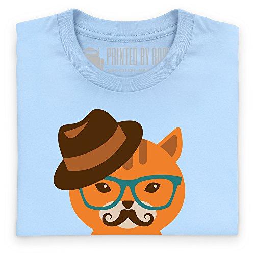 Hipster Cat T-Shirt, Herren Himmelblau