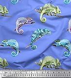 Soimoi Blau Poly Georgette Stoff Chamäleon Reptil Stoff