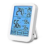 Digitales Thermo-Hygrometer Raumklimakontrolle Raumluftüerwachtung LCD Display mit MIN/MAX Records, Trends, Komfort Indikation für Baby Zimmer, Schlafzimmer, Büro, Wohnzimmer, Gewächshaus, Lagerhaus