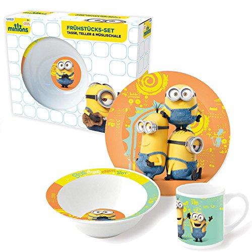 Minions Porzellan Kinderservice mit Tasse Teller Müslischüssel Movie (Mann Baby Stick Kostüm)