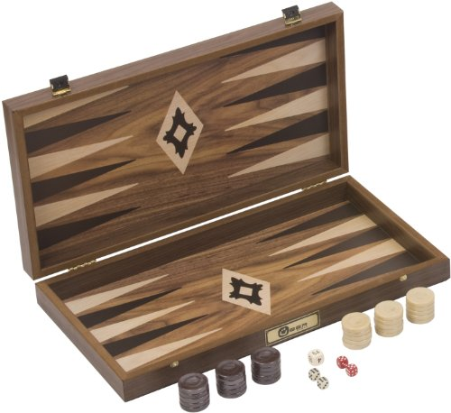 Backgammon Walnuss Holz. Qualität Set, 3 kgs. 47x50x7 cm