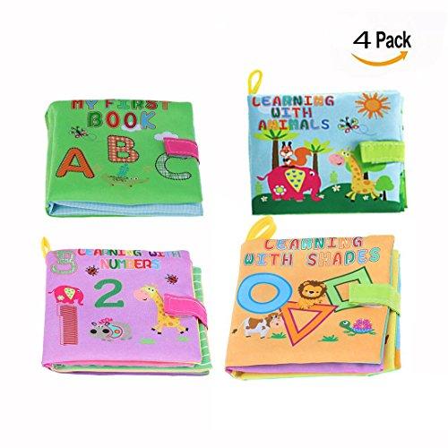 OFKPO Libros de Tela para Bebes, No tóxico Tela Suave Lavable Juguetes de Bebé Educación Inicial Aprendizaje Desarrollo de Inteligencia