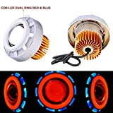 #2: Autofy Universal Dual Ring COB LED Projector Headlight for All Bikes (Red and Blue)