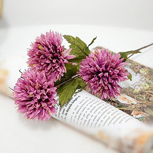 GSYLOL 3 Köpfe Simulation Ball Chrysantheme Blumen Seide Daisy Künstliche Dekorative Boden Blume Home Hotel Dekoration, - Blume-bälle Daisy