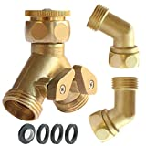 PLG 2 Way Hose Shut-Off Valve + Hose Elbow Connector,Heavy Duty Brass,Filter Washers & Faucet Adapter Included