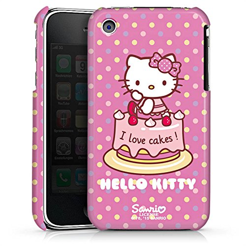 DeinDesign Premium Case kompatibel mit Apple iPhone 3Gs Hülle Handyhülle Hello Kitty Merchandise Fanartikel I Love Cakes