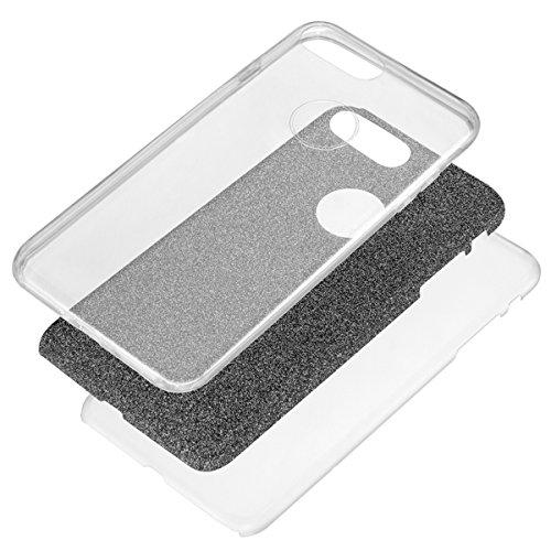 """MOONCASE iPhone 7 Plus Coque, Bling Glitter 3 in 1 Hybrid Flexible TPU Defender Housse Ultra-mince Anti-choc Protection Étuis Case pour iPhone 7 Plus 5.5"""" Noir Noir"""