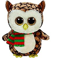 Beanie Boos Ty Wise Owl Boo Christmas 2015 Soft Toy Knitted Scarf Small Medium