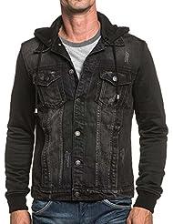 BLZ jeans - Veste bi-matière jean et molleton noir à capuche