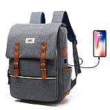 """iCasso Zaino per PC Portatile 15,6"""", 820 Grammi Laptop Borsa Backpack Leggero Viaggio Scuola Anti-furto Belt Business Borse Multi-Funzionale con USB Port, Grigio"""