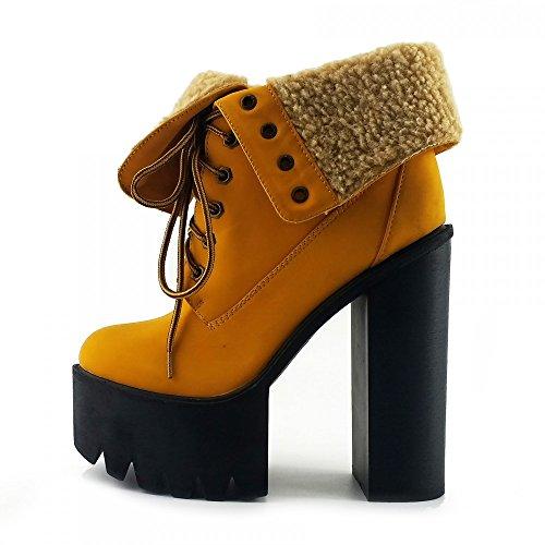 Kick Footwear - Womens Chunky Platform Ankle Shoes Miele