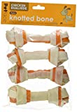 Petface Chicken Dual Hide Knotted Bone, 15 cm, 4-Piece for Dogs