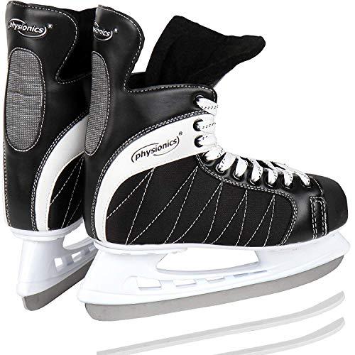 Physionics Schlittschuhe in den Größen von 40 bis 46 | mit flexiblem Oberflächenmaterial | Eishockey Eislaufen in Schwarz (43)