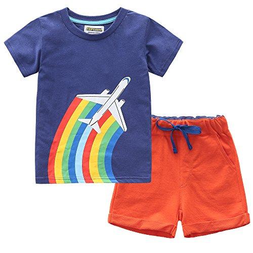 Kaily Junge Baumwolle Sommer Sets Kurzarm Rakete/Flugzeug Mustern T-Shirts und Shorts 2 Stück Kleidung Sets (18021,2T(2-3Jahre)) (T-shirt LangÄrmeliges Set)
