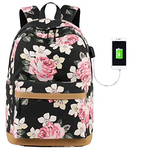 Mädchen Schulrucksack Fashion Damen Canvas Rucksack Floral Backpack for Teenager Girls mit USB Charging Port