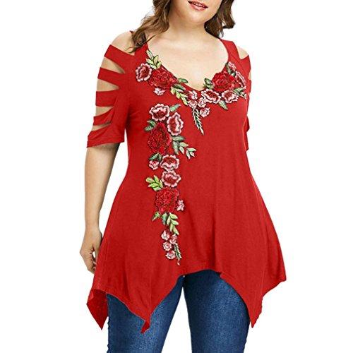 TEBAISE Urlaub Reisen Stil Mode Frauen von Party Dating Unregelmäßige Plus Größe Shredding Zerrissene Schnitt Hülse Stickerei T-Shirt Tops(Wassermelonenrot,EU-48/CN-3XL) (Stretch-strümpfe Floral)