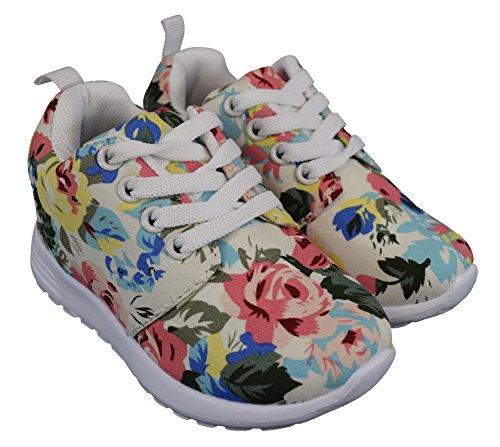 S&LU tolle Mädchen Schnürschuhe, Sneakers mit schönem Allover-Blumenprint Größe 25 - 36 Beige