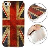 THE FLY SHOP - Cover per iPhone 5 5s e SE/Custodia Protettiva in Silicone Flessibile con Bandiera della Gran Bretagna in Stile Vintage