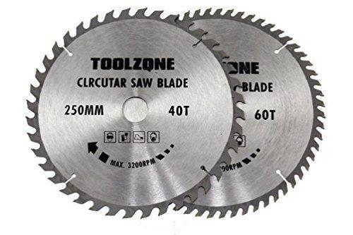 Baking Tools 2pc 250mm TCT lames de scie circulaire 40 & 60 dents bois dur, bois de œuvre Résineux, Chip PLAQUES