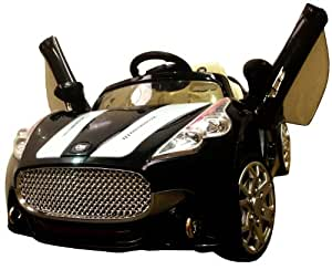 NEW DESIGN MASERATI STYLE BLACK 12V TWIN MOTORS KIDS RIDE ON CAR WITH 4 WYAS PARENTAL REMOTE CONTROL + mp3 input + digital battery capacity timer + openable wing doors (BLACK)