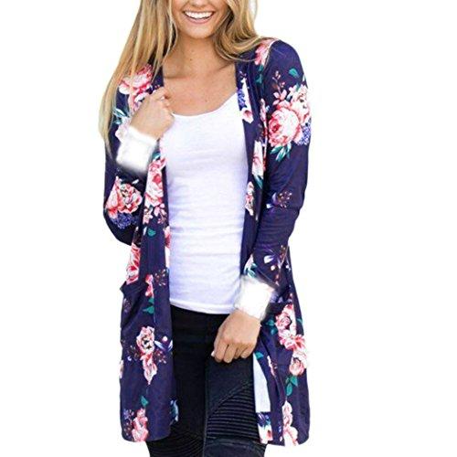Preisvergleich Produktbild EARS - Frauen Langarm bedruckt Schal Kimono Strickjacke (XL, Blau)