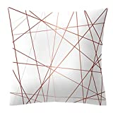 Lazder Funda de Almohada Decorativa Sqaure Oro Rosa geométrico piña Lunares hogar Coche Funda de cojín de un Lado Impreso, 15#, Medium