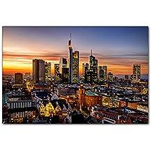 PB Art - Stadtlandschaft Frankfurt am Main 80 x 120 cm Kunstdruck Leinwandbild Keilrahmenbild Wandgestaltung Wandbilder - Beste Qualität, handgefertigt in Deutschland!