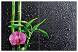 Wallario Herdabdeckplatte/Spritzschutz aus Glas, 2-teilig, 80x52cm, für Ceran- und Induktionsherde, Motiv Bambus und Pinke Orchidee auf Schwarzem Glas mit Regentropfen